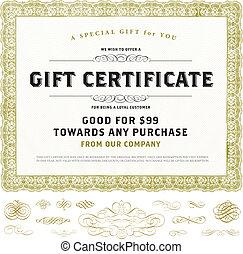 certificat don, vendange, vecteur, ornements, or, gabarit