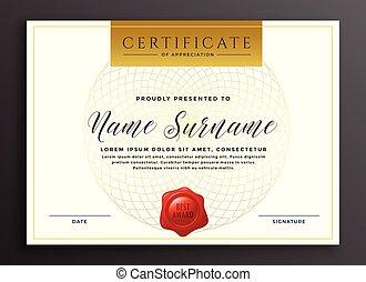 certificat, moderne, élégant, conception, luxe, gabarit