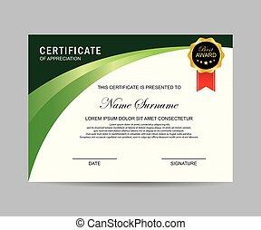 certificat, moderne, gabarit