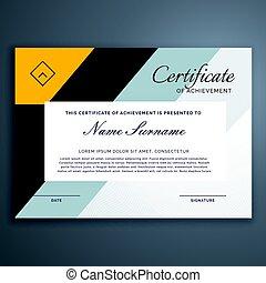 certificat, moderne, jaune, formes, conception, géométrique