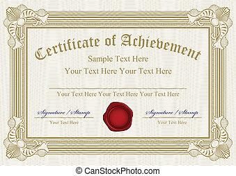 certificat, vecteur, accomplissement, w