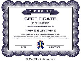 certificat, vecteur, gabarit
