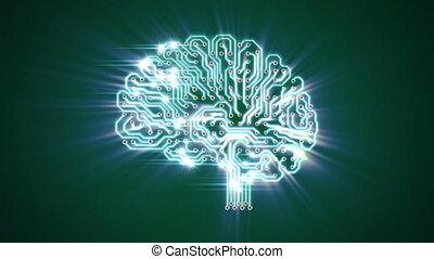 cerveau, électronique, battre, rayon