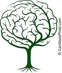 cerveau, arbre, illustration