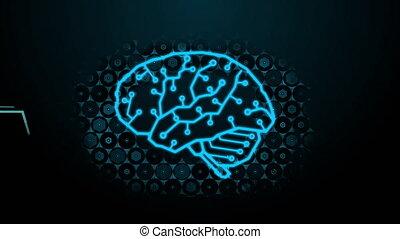 cerveau, binaire, hexagone, onde cérébrale, résumé, technologie, numérique, fondu, futuriste, code, fond, conception, aléatoire