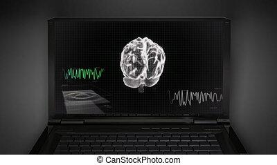 cerveau, blanc, 3d, vague