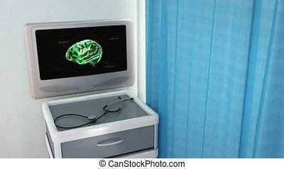 cerveau, code, vert