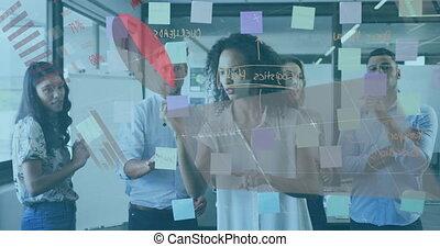 cerveau, collègues, graphiques, business, information, projection, storming, animation, interface