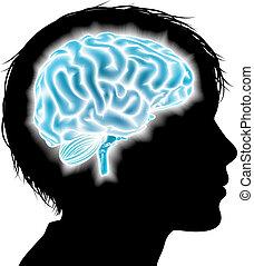 cerveau, concept, enfant