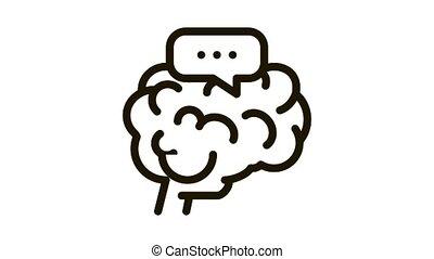 cerveau, démence, animation, icône