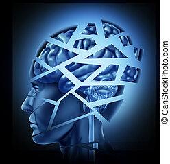 cerveau, endommagé, humain