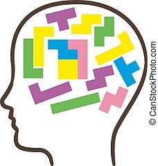 cerveau, fait, multi-coloré, humain, blocks.