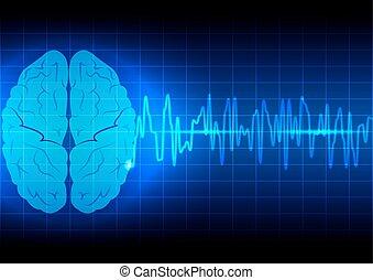 cerveau, fond, résumé, technologie, vague bleue, concept