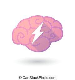 cerveau, icône, éclair