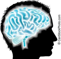 cerveau, incandescent, concept, homme