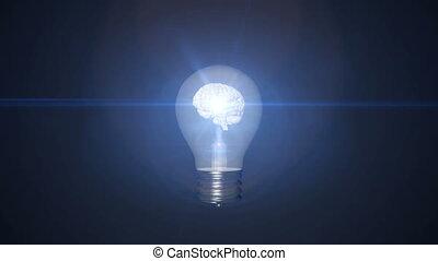 cerveau, intérieur, ampoule, lumière
