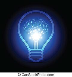 cerveau, intérieur, numérique, lampe, électrique