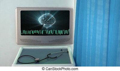 cerveau, monde médical, closeup, vague