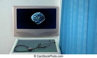 cerveau, monde médical, tourner, closeup, écran