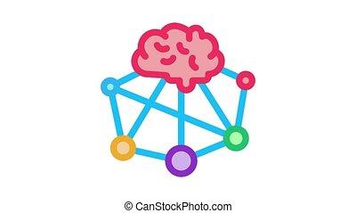 cerveau, neuromarketing, animation, icône