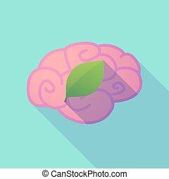 cerveau, ombre, long, feuille verte