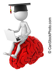 cerveau, ordinateur portable, sommet, étudiant, séance