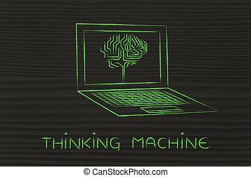 cerveau, pensée, ordinateur portable, écran, machine, sous-titre, circuit