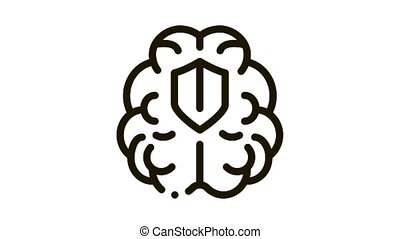 cerveau, protection, animation, icône