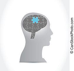 cerveau, puzzle, conception, illustration