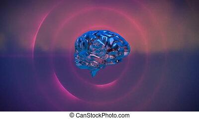 cerveau, réception, rotation, néon, lignes, rose