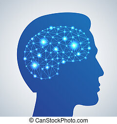 cerveau, réseau, icône