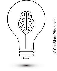cerveau, résumé, lumière, contour, ampoule