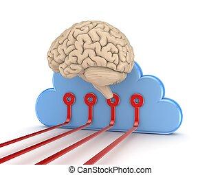 cerveau, symbole, humain, computing., nuage