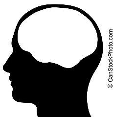 cerveau, tête, mâle, silhouette, secteur