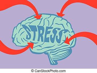 cerveau, vecteur, accentué, illustration, dehors
