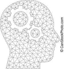 cerveau, vecteur, engrenages, maille, icône