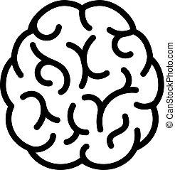 cerveau, vecteur, humain, icône