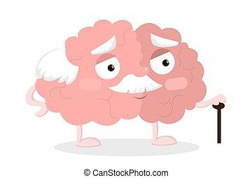 cerveau, vieux, cane.