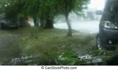 c'est, temps, pluie, grêle, voiture, vue