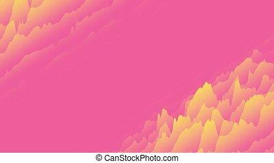 cg, 3d, rouges, gradient, animé, mouvement, jaune, arrière-plan., couches, rendering., design., onduler