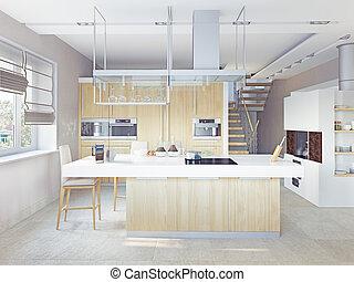 (cg, moderne, concept), cuisine, intérieur