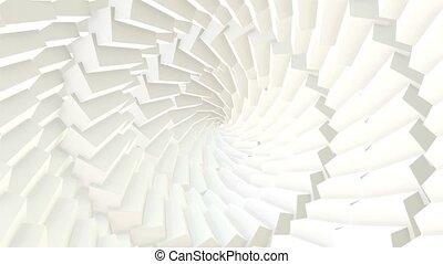 cgi, fait boucle, loop., cubes, résumé, spirale, seamless, mouvement, tunnel., fond, graphiques, blanc, animé, arranger
