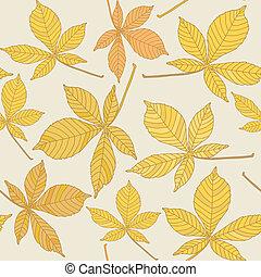 châtaigne, modèle, feuilles, seamless