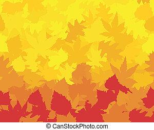 châtaigne, rouges, wallpaper., saturé, chêne, coloré, former, feuilles, automne, hêtre, érable, jaunes, oranges