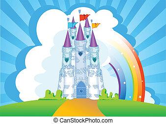 château, carte, invitation, magie