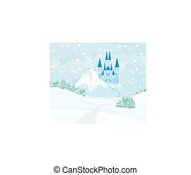 château, conte fées, paysage, colline hiver