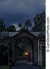 château, dame, jardin, nuit