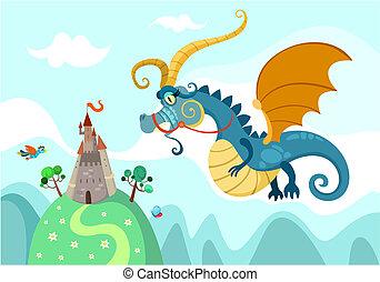 château, dragon