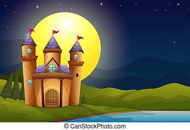 château, entiers, paysage, lune
