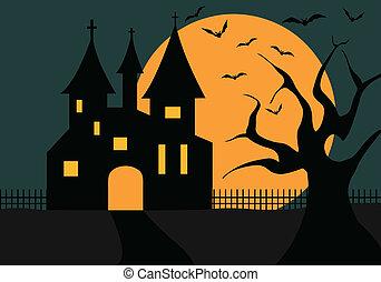 château, halloween, illustration